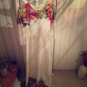Full length white floral dress